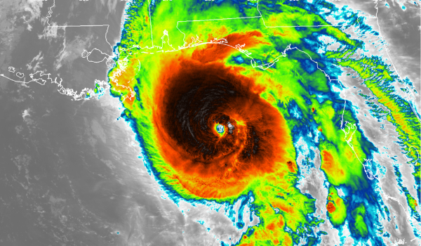 Satellite image of Hurricane Michael (Credit: NASA/NOAA/UW-SSEC-CIMSS, William Straka III)